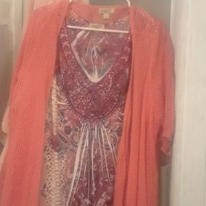 One world woman's top with cardigan